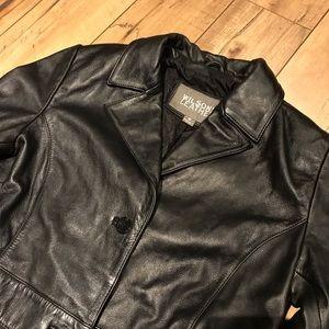 Women's long black leather jacket